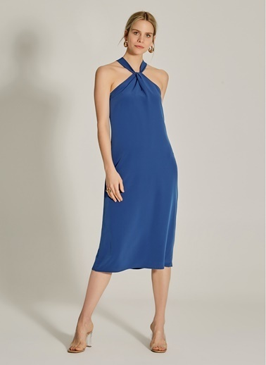 NGSTYLE Yaka Detaylı Midi Elbise Lacivert
